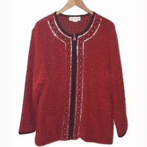 Cathy Daniels  Cardigan Red Zipper Knit Sequin 1X